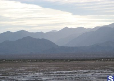 Dry estuary  with mountains
