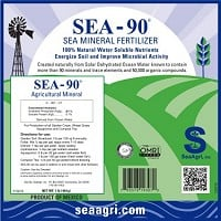 SEA-90 Sea Mineral Fertilizer Label